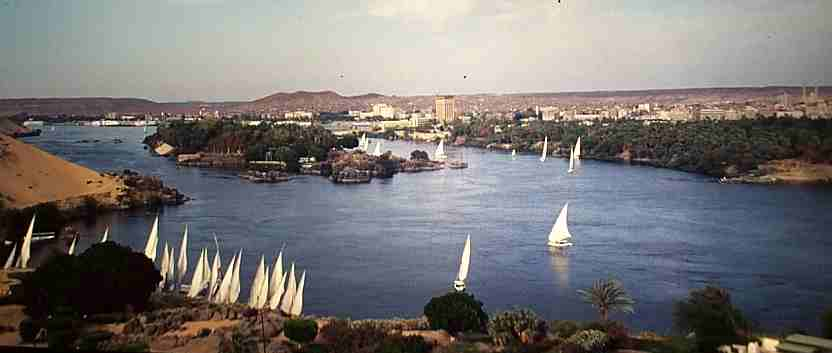Looking over Aswan and the Nile from the Aga Khan mausoleum