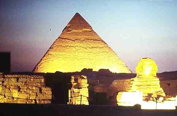 Night show at the pyramids in Cairo